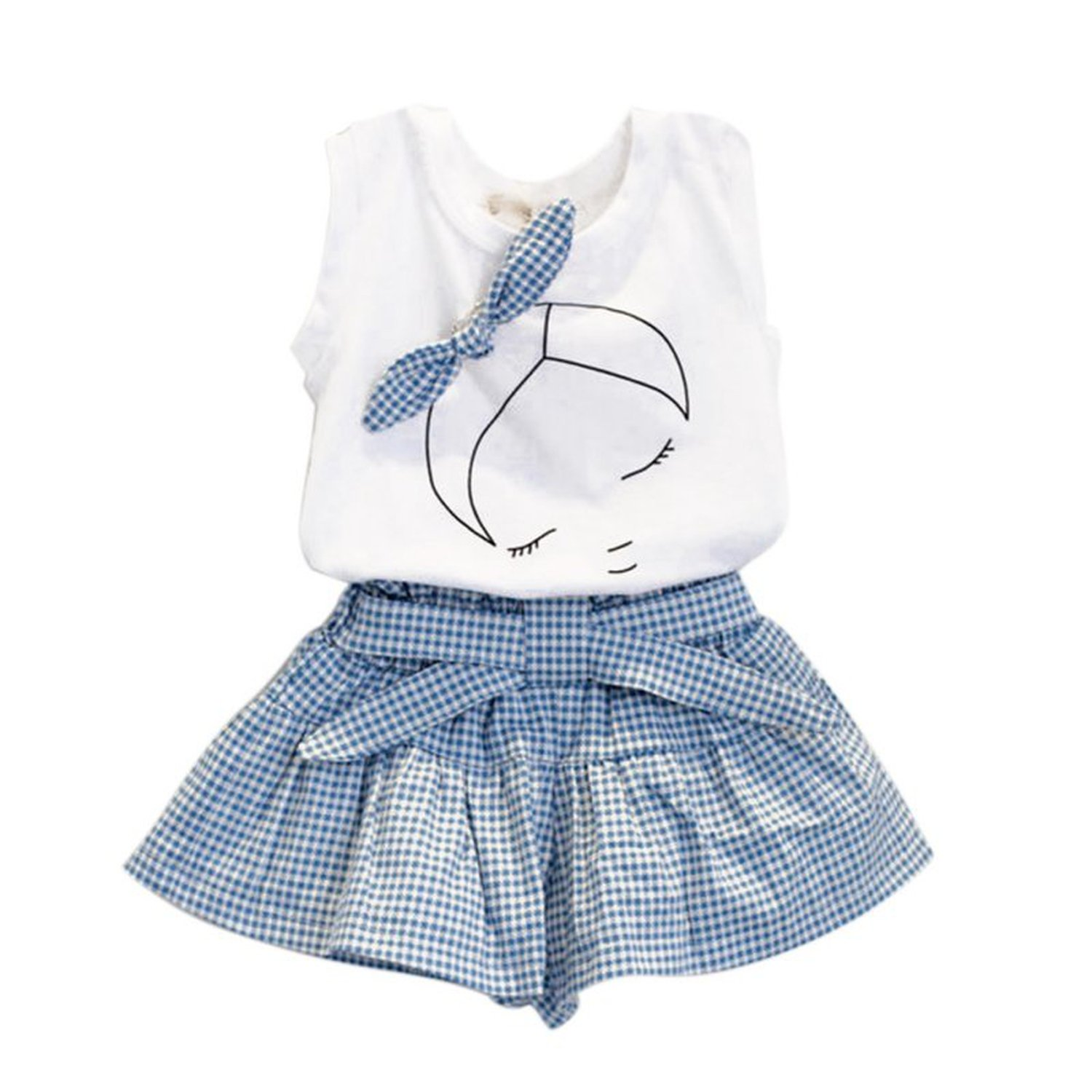 Zcaosma Baby Girl Sets Children Bow T-Shirt Tops+Plaids & Check Dress Pants,Sky Blue,Zt