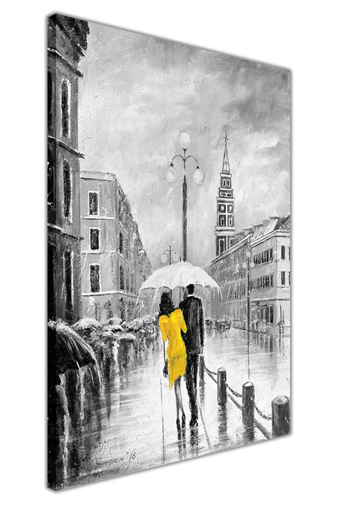 Yellow dress under umbrella black and white framed canvas pictures wall art prints size a3
