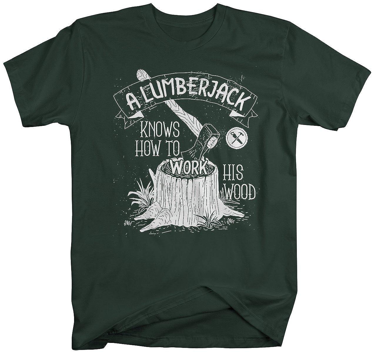 92c25f8143 Amazon.com: Shirts By Sarah Men's Funny Lumberjack T-Shirt Work His Wood Logging  Tee Shirt: Clothing