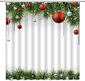 AMHNF Christmas Shower Curtain Colorful Christmas Ball Snowflake Green Pine Tree Twig Merry Christmas Holiday Fabric Bathroom Decor Set with Hooks, Green Red