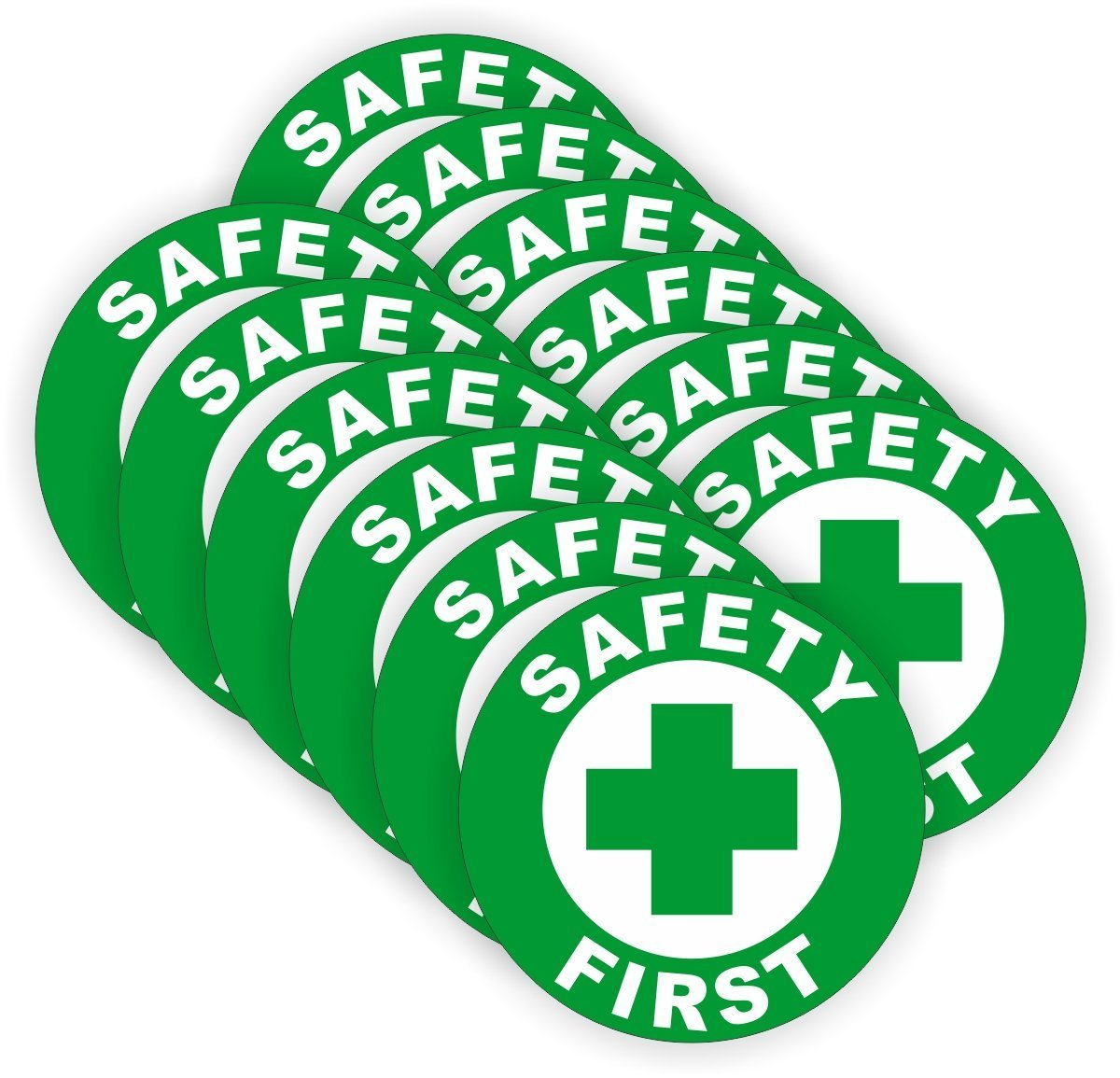 (12 PACK) Safety First circle by StickerDad - size: 2'' ROUND color: GREEN/WHITE - Full Color Printed Sticker for Hard Hat, Helmet, Windows, Walls, Bumpers, Laptop, Lockers, etc.