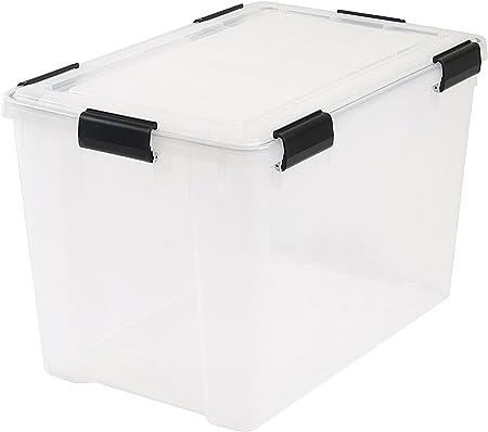 IRIS - Contenedor extragrande de plástico para almacenamiento, transparente, 70 litros,59 cm x 39 cm x 38 cm, tapa hermética desmontable,1 unidad: Amazon.es: Hogar