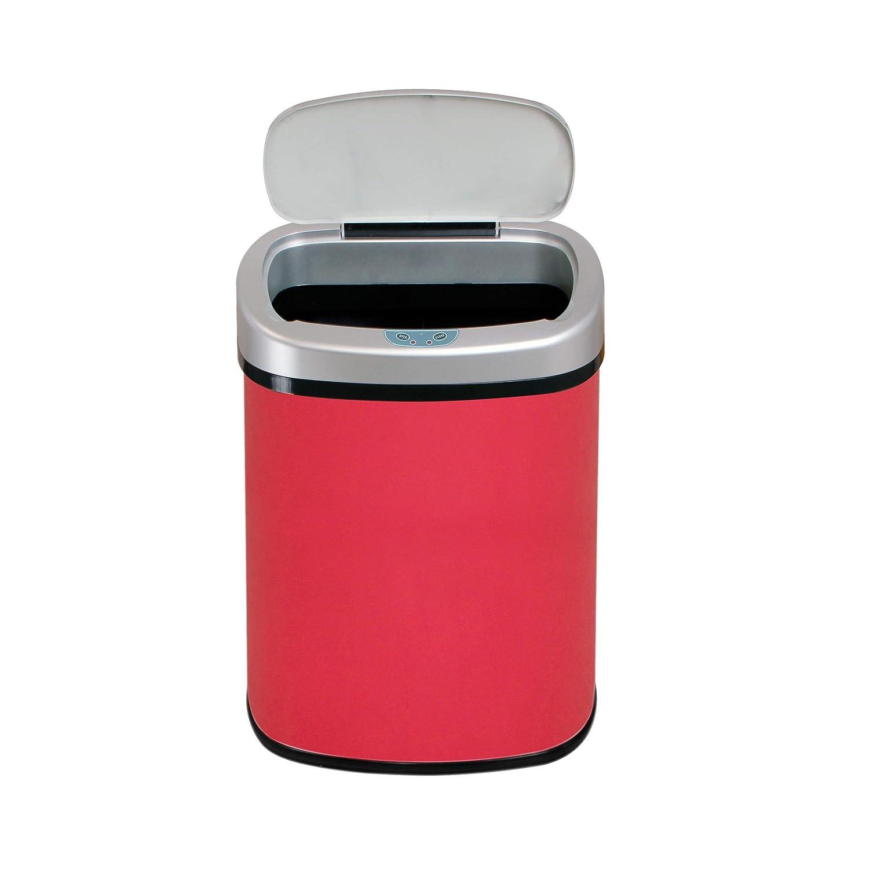 Rot 42L Neues Ovales Design F/ür K/üche Oder Bad Automatischer Sensor-Abfallbeh/älter
