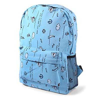 72dba06b76 kaiyomy chool Bag Travelling Canvas Laptop Zipper Backpack Large Capacity  Cartoon Print (Light Blue)