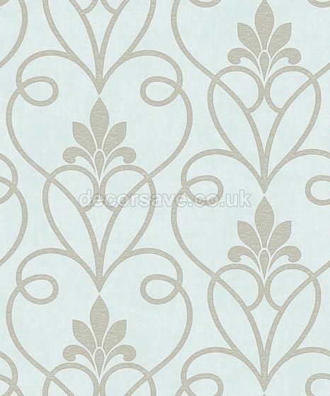 M95585 Fine Decor Milano Damask Grey Silver Vinyl Heavy Wallpaper