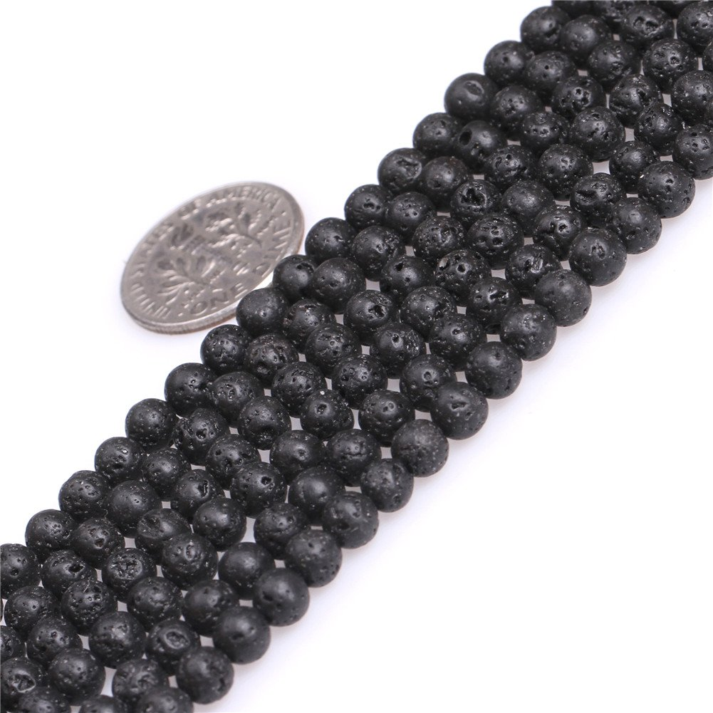 4mm Round Gemstone Black Lava Rock Beads Strand 15 Inches Jewelry Making Beads