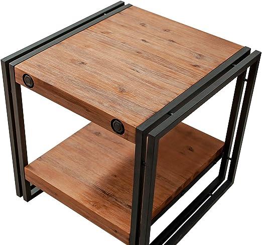 Mesa auxiliar/de sofá, estilo industrial, de madera de acacia ...