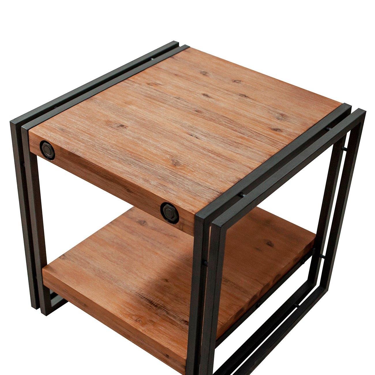 Table d'appoint - bout de canapé style industriel en bois d'acacia massif et métal – Collection Workshop