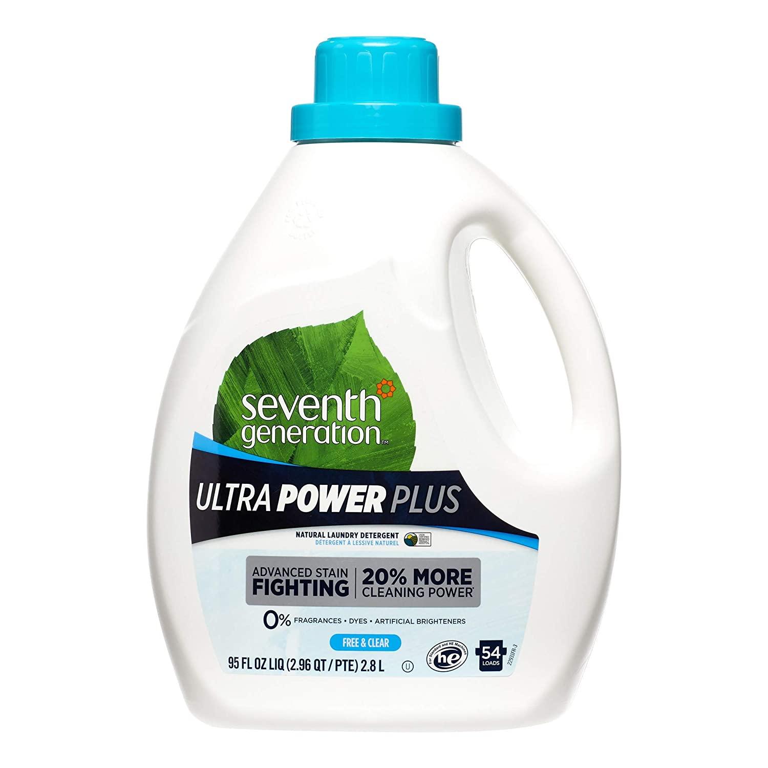 Seventh Generation Ultra Power Plus Liquid Laundry Detergent, Fragrance Free, 54 Loads, 95 oz