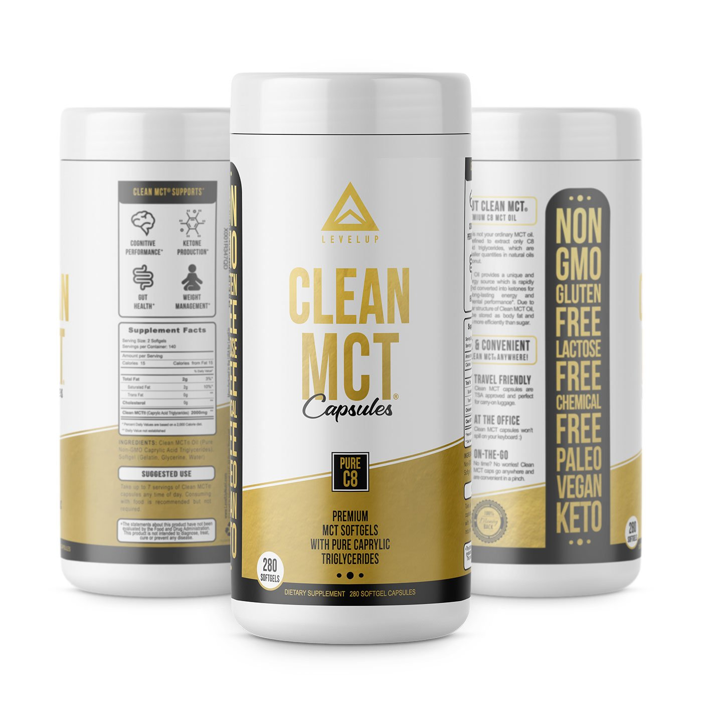 Clean MCT Capsules - Pure C8 MCT Oil Softgels - Highly Ketogenic Medium Chain Triglycerides - Instantly Converts into Ketones - Supports Ketosis - Cognitive Function - 1000mg Each by LevelUp (Image #5)