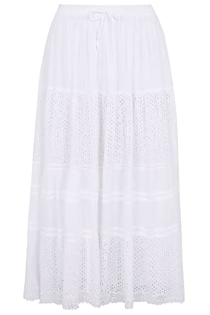 a1dbfa5d26d92 Yours Women s Plus Size Crinkle Cotton Tiered Maxi Skirt with Broderie  Anglaise Size 20 White