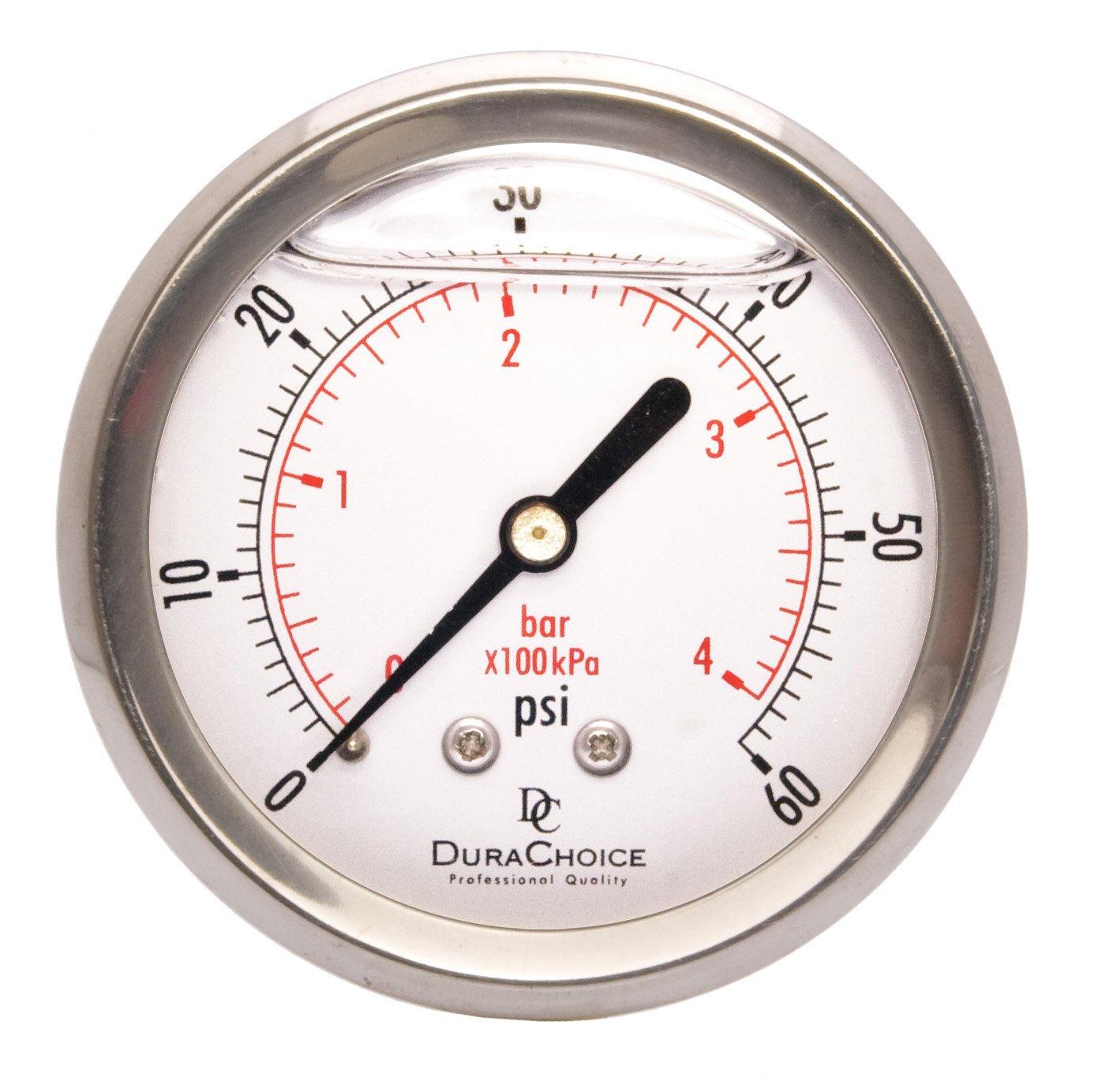 2-1/2'' Liquid Filled Pressure Gauges - Stainless Steel Case, Brass, 1/4'' NPT, Center Back Mount Connection 0-60PSI