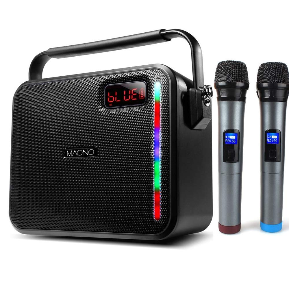 60W PA System, MAONO Wireless Karaoke Machine with Two Metal UHF Wireless Handheld Microphones, AUX-in Mode/USB Input/TF Card/Remote Control/LED Bar for Adults Kids (Black)
