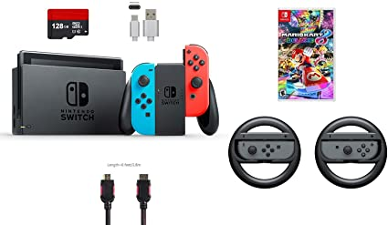 80cace969d3e Nintendo Switch 7 items Bundle Nintendo Switch 32GB Console Neon Red Neon  Blue