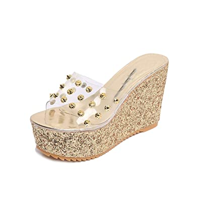 8589747694d884 Image Unavailable. Image not available for. Color  Woman Summer Slippers  Female Slides Fashion Rivet Elegant High Heels Wedges Gold Ladies Sandals  ...