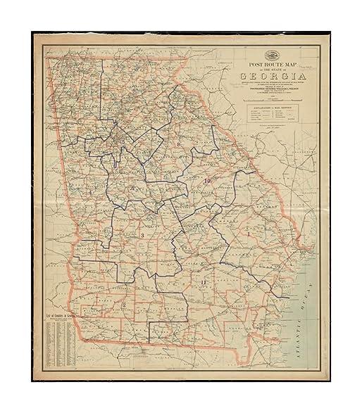 Map Of Georgia Railroads.Amazon Com 1894 Map Georgia Post Route Of State Of Georgia Showing