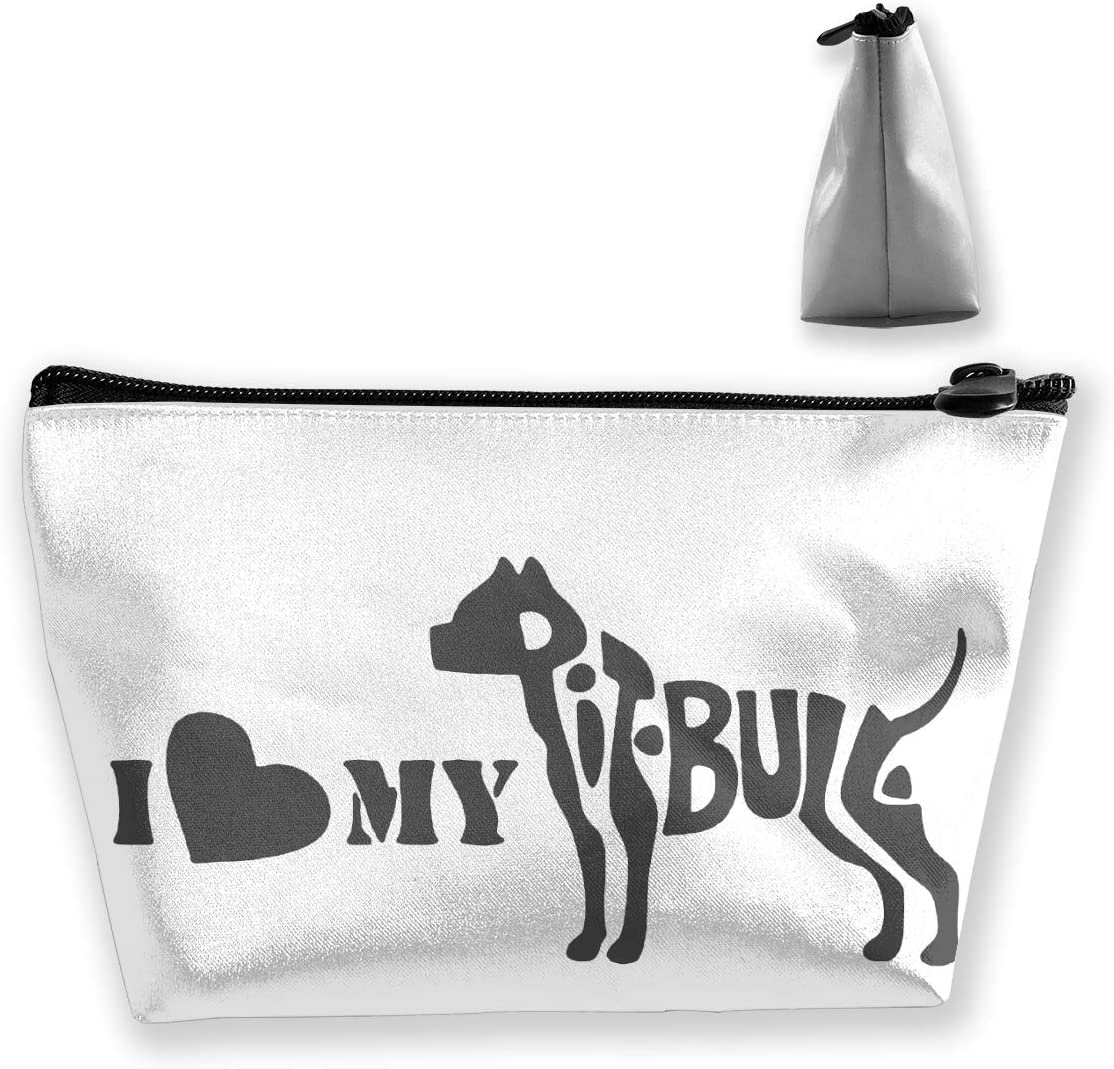 I Love My Pitbull Women'S Makeup Bag Portable Storage Bag With Zipper Closure For Travel Cosmetics