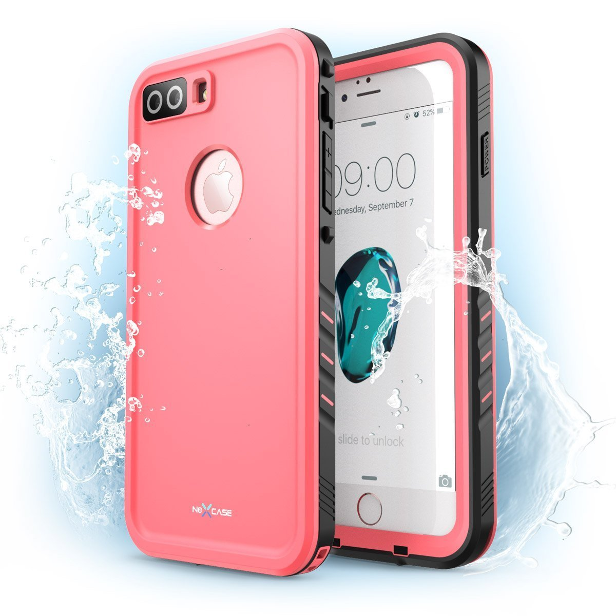 iPhone 7 Plus Case, NexCase Waterproof Full-body Rugged Case with Built-in Screen Protector for Apple iPhone 7 Plus 5.5 inch 2016 Release (Pink) by NexCase