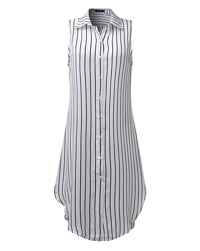 d68e4257b10f StyleDome Women Chiffon Sheer Vertical Stripe Lapel Sleeveless Button Down  Long Vest Tops Shirt Dress at Amazon Women's Clothing store: