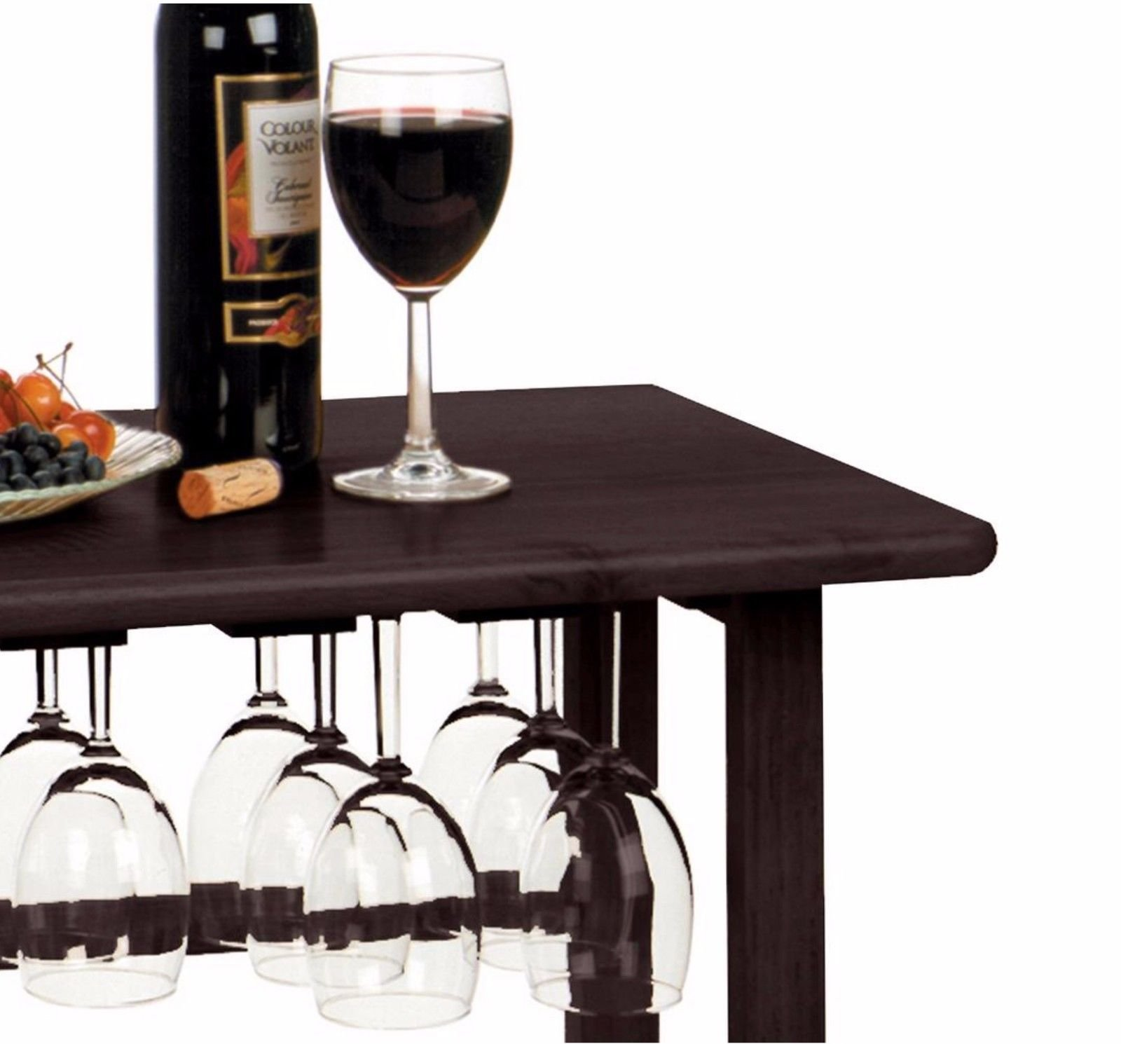 Wood Wine Rack 24 Bottle Glass Hanger Espresso Holder Storage Shelf Display by RX-789 (Image #1)
