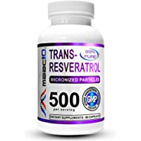 MAAC10 - Trans Resveratrol 500mg Supplement (Pharmaceutical Grade 99% Purified Trans-Resveratrol Extract + BioPerine for…