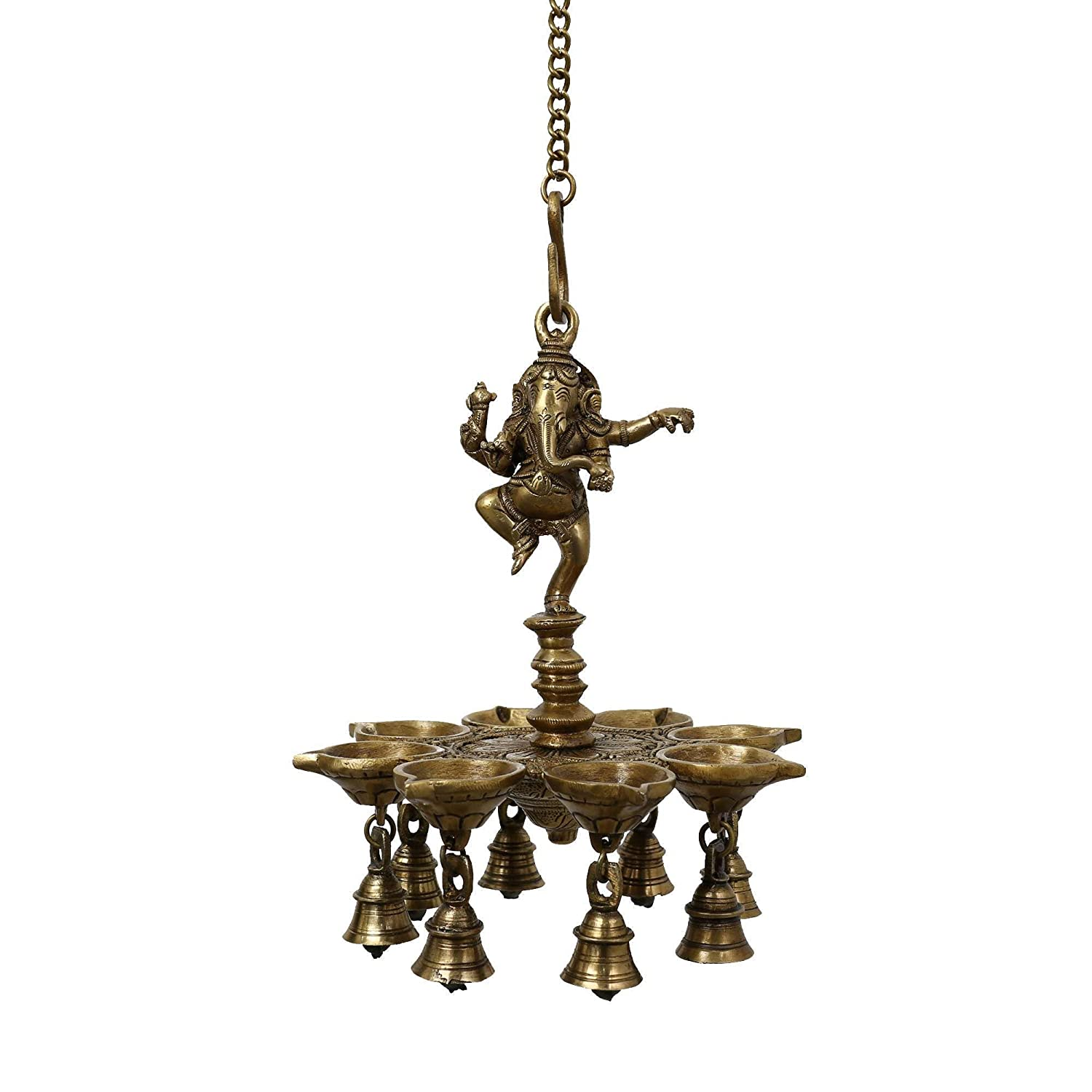 Amazon Indian Lamp Set Diwali Lights Hanging Bells Ganesha Sculpture Art Metal Brass Home Kitchen
