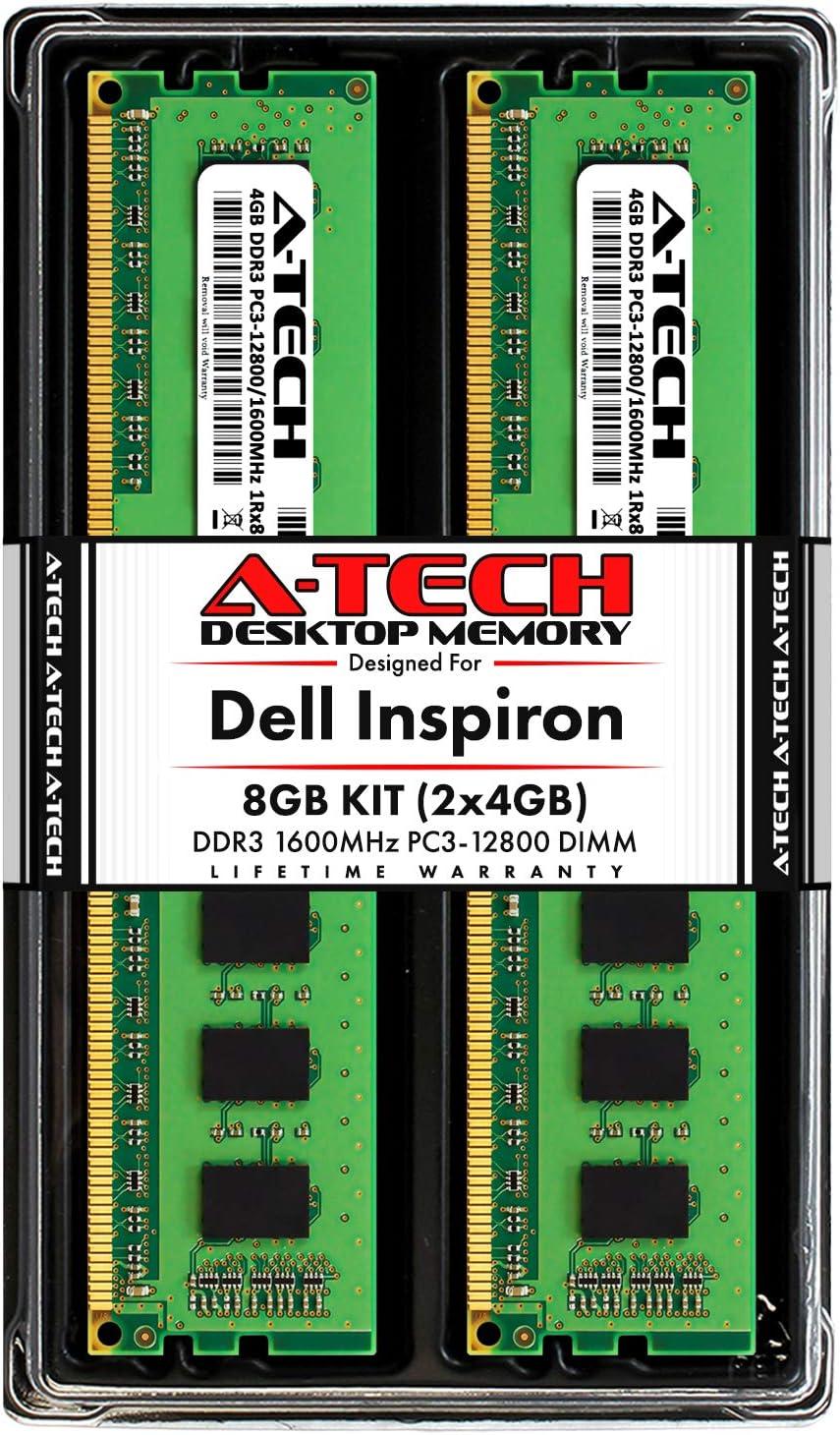 A-Tech 8GB (2x4GB) RAM for Dell Inspiron 660, 660s | DDR3 1600MHz DIMM PC3-12800 240-Pin Non-ECC UDIMM Desktop Memory Upgrade Kit