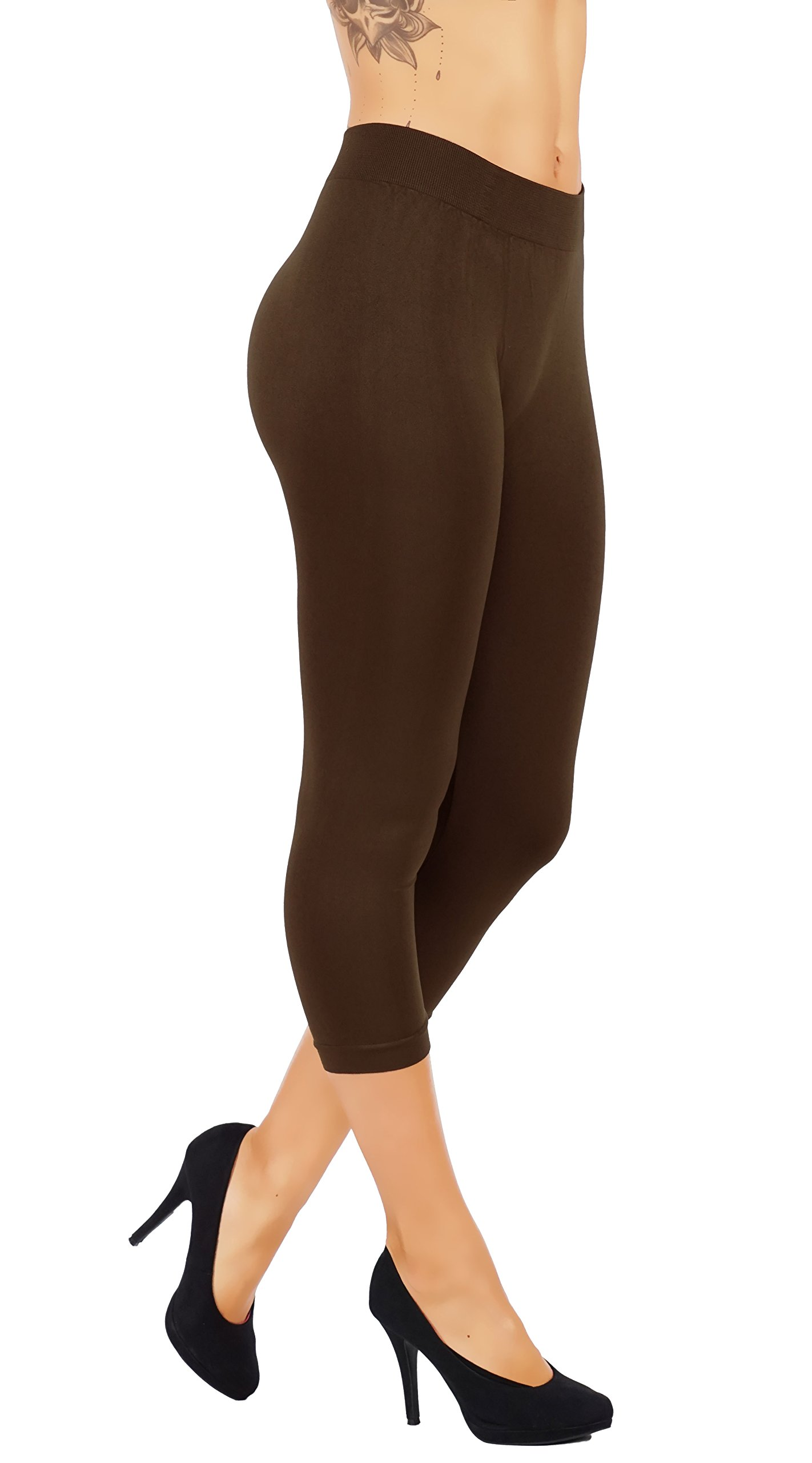 5StarsLine Casual Pants Wide Elastic Waistband Buttery Soft Leggings Light Weight Variety of Colors S-XL (S/M USA 2-8, 5S82-6CP-BRW)