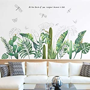 Tropical Green Plants Leaves Wall Decals, Palm Cactus Peel and Stick Wall Stickers, Creative Dragonfly Mural Decoration for Decor Kids Nursery Baby Bedroom Home Living Room Kitchen (42x22.5in)