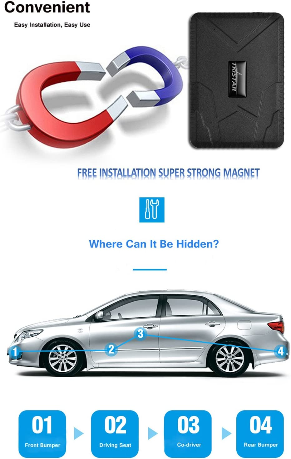 Realtime GPS Tracker for Vehicles Magnetic Waterproof Accurate Postion Location Tracking Remote Monitor 180 Days Long Standby 10000mAh Battery Smart Saving Power GPS Tracker for Vehicle Motorcycles