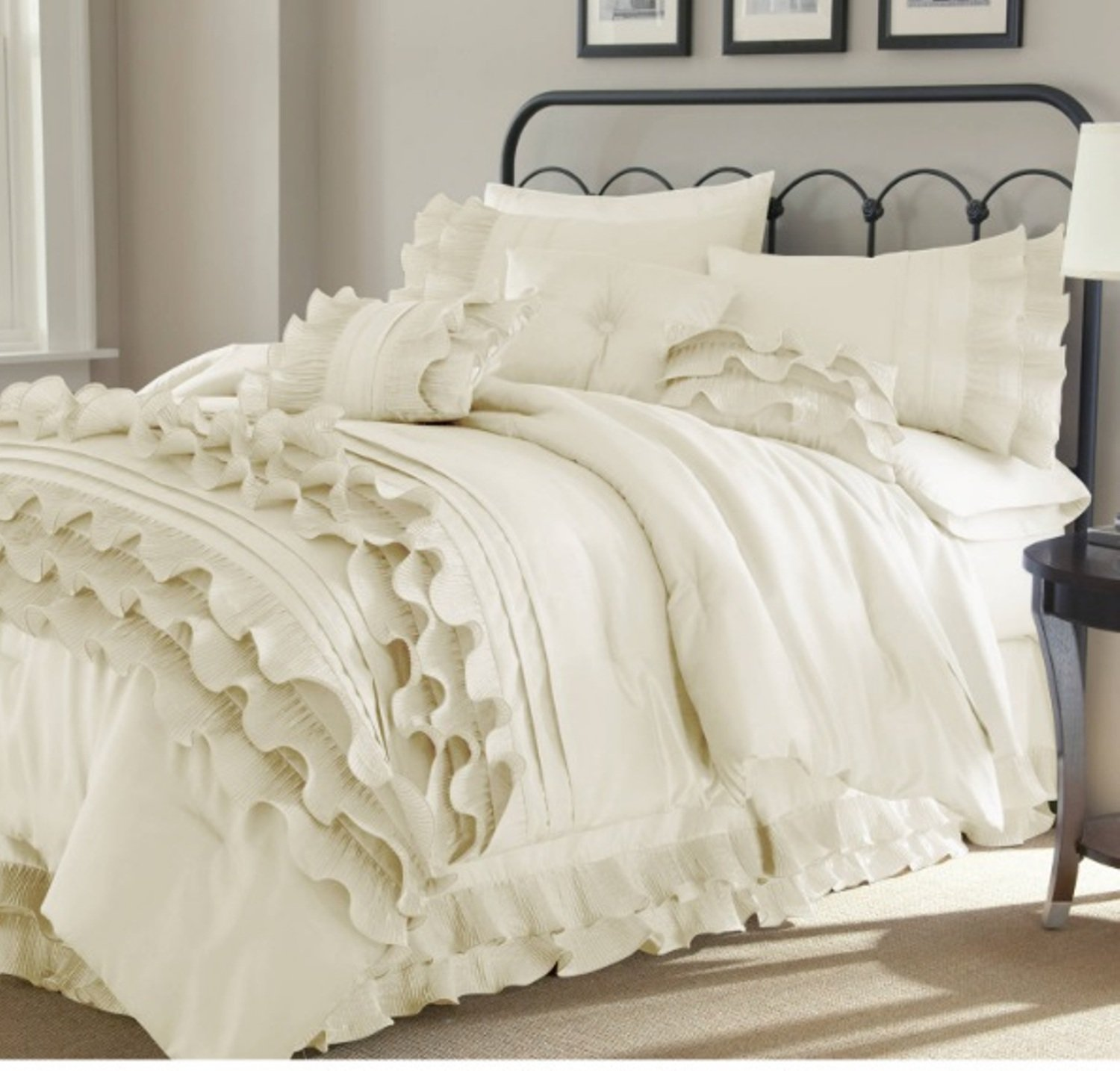 8 Piece Textured Frills Ruffles Design Comforter Set Queen Size, Featuring Solid Elegant Shabby Chic Printed Pattern Comfortable Bedding, Stylish French Country Unique Girls Bedroom Decor, White