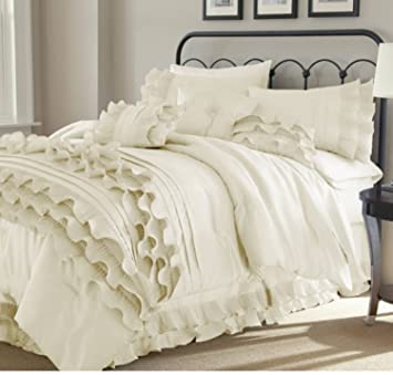 Cool 8 Piece Textured Frills Ruffles Design Comforter Set Queen Size Featuring Solid Elegant Shabby Chic Printed Pattern Comfortable Bedding Stylish Download Free Architecture Designs Grimeyleaguecom