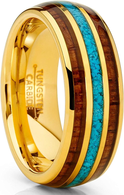 Metal Masters Co. Unisex Men's Gold Tone Tungsten Wedding Band Engagement Ring Koa Wood Crushed Turquoise Inlay