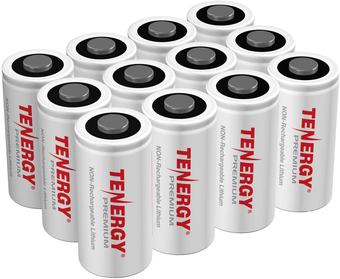 Tenergy Premium 12 Pack NonRechargeable CR123A 3V Lithium Battery, 1600mAh for Arlo Cameras, Photo Lithium Batteries, Security Cameras, Smart Sensors, and More