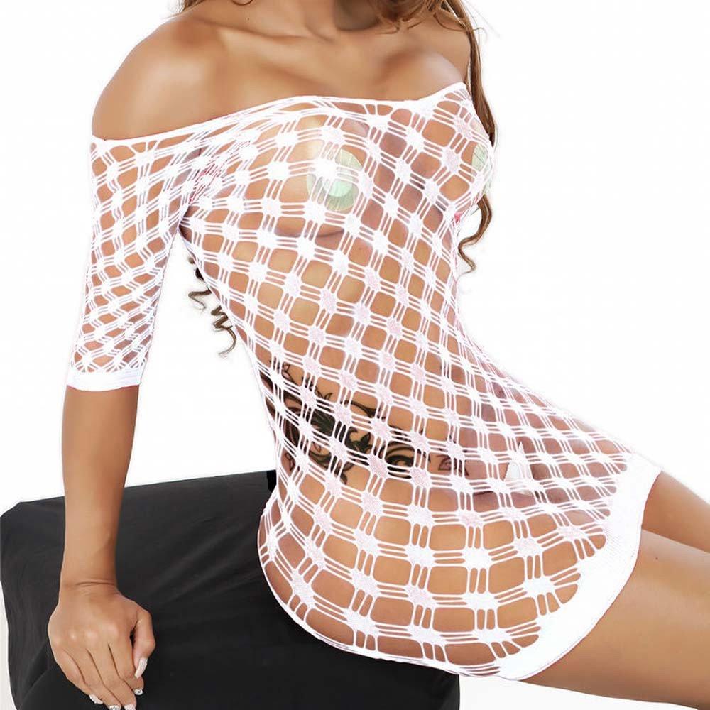 VJGOAL Perspectiva Sexy de la tentación de Las Mujeres Malla Calada Conjunta Lencería Mallas Mini Vestido de tamaño Libre Bodysuit Ropa Interior erótica(Un ...
