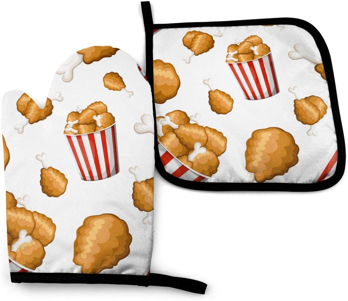 Eson J 2 Pieces Oven Gloves and Pot Holder Fried Chicken in Strip Bucket Flat Style Chicken Thighs Icon Waterproof Kitchen Oven Mitts Heat Resistant Pot Pad for BBQ Cooking Baking Grilling