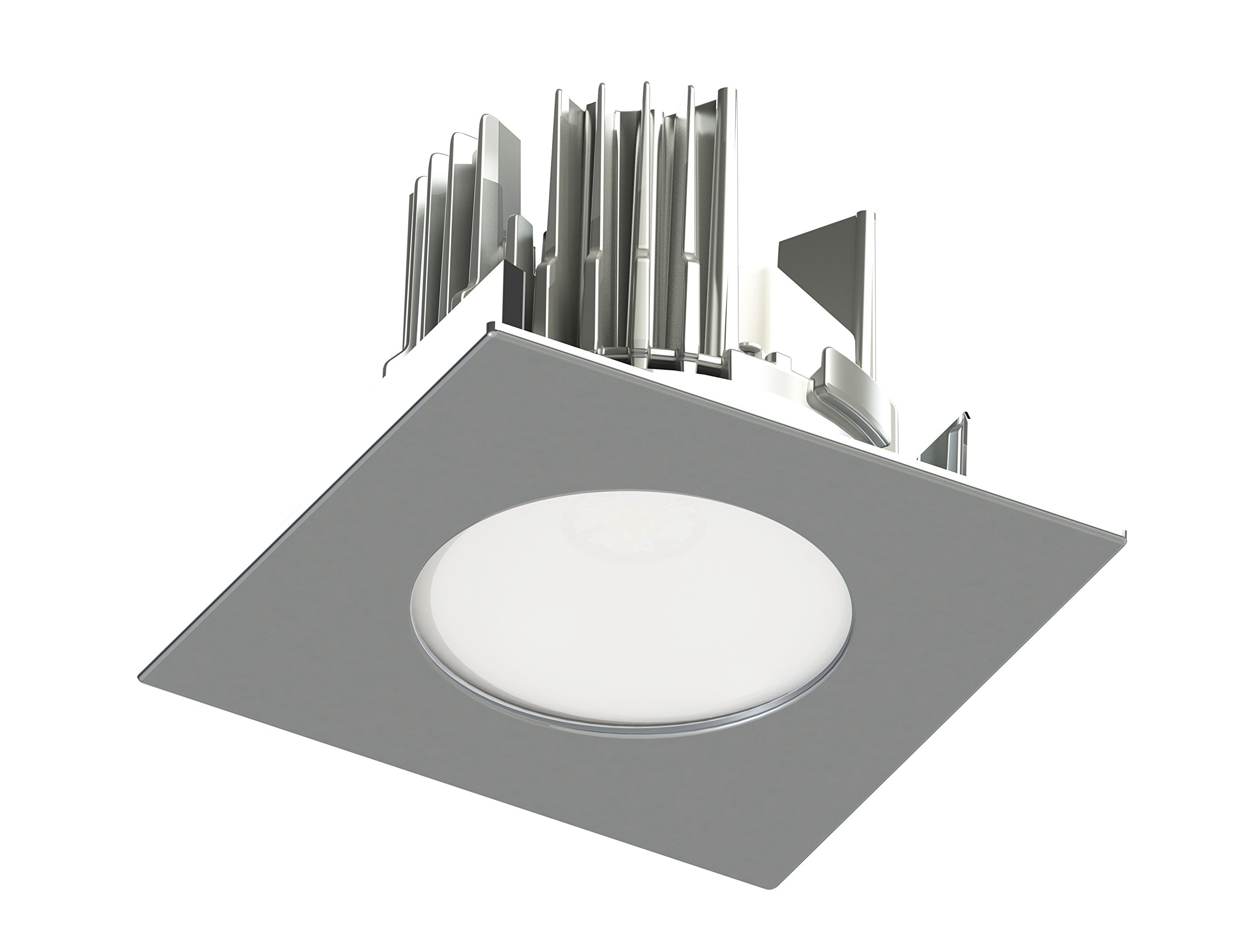 4 in Brushed Nickel LED Conversion Trim Kit allows to transform a Medium Base PAR20 Trim Contrast Lighting or other manufacturer's 4-inch Luminaire into a Dedicated LED Square Unit with Frosted Lens