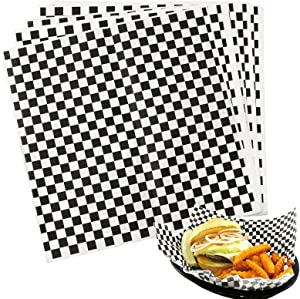 Hslife 100 Sheets Black and White Checkered Dry Waxed Deli Paper Sheets, Paper Liners for Plasic Food Basket, Wrapping Bread and Sandwiches(11''x11.6'')