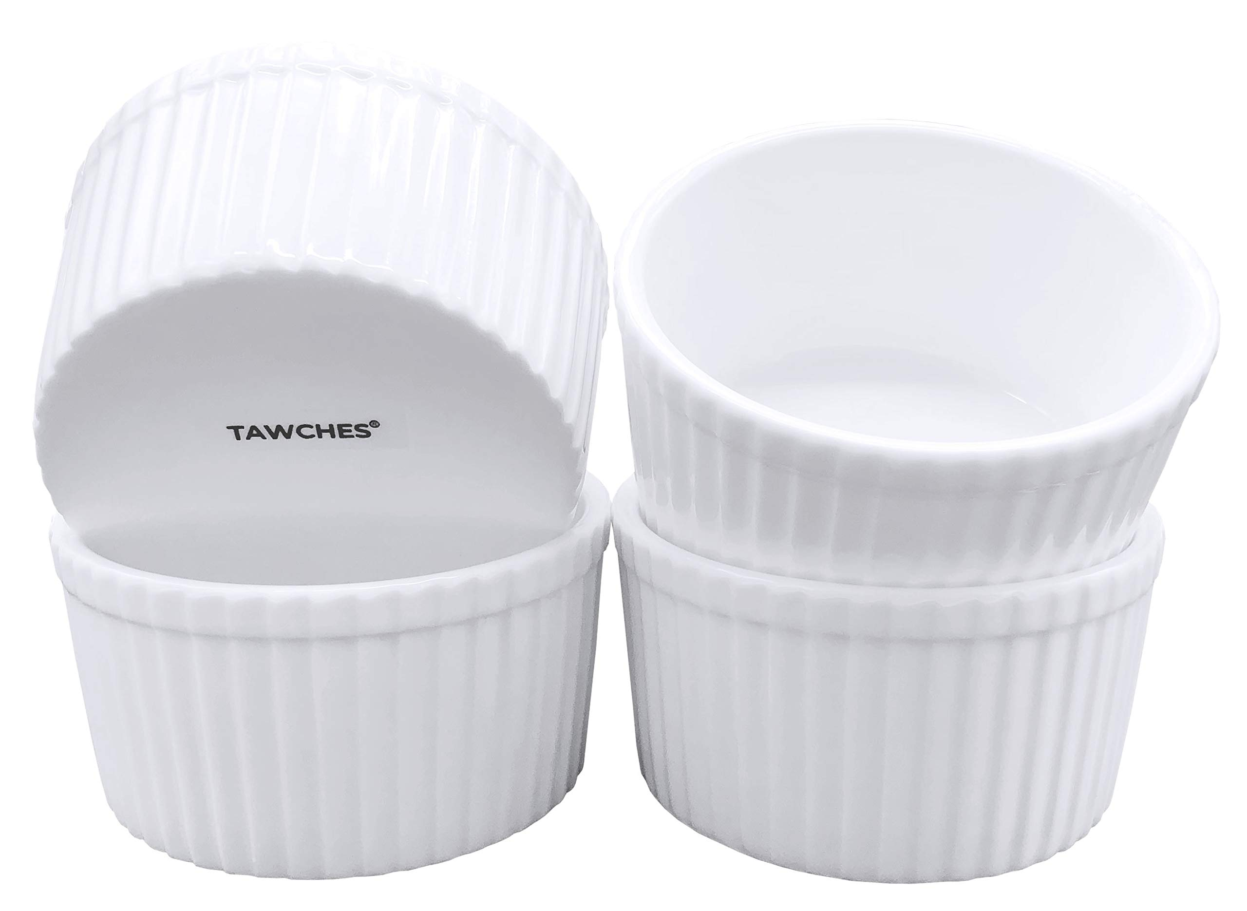 Bone China Ramekins for Baking, White Pudding Cups Custard Cups for Cooking and Serving,Safer and Healthier Ware TAWCHES TS001 (6oz 4pcs) by TAWCHES