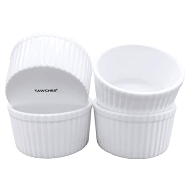 Bone China Ramekins for Baking, White Pudding Cups Custard Cups for Cooking and Serving,Safer and Healthier Ware TAWCHES TS001 (6oz 4pcs)