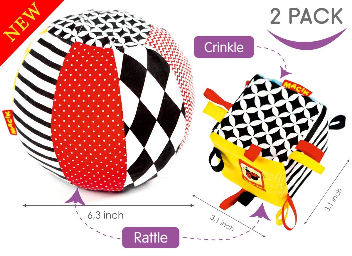 MACIK Soft infant toys SET 2 - Baby sensory toys Development toys 6-12 month baby toys - Baby ride on toys activity GYM toys - TAG CRINKLE toy baby RATTLE toys - Newborn toys baby 1 year old toys also by MACIK (Image #1)
