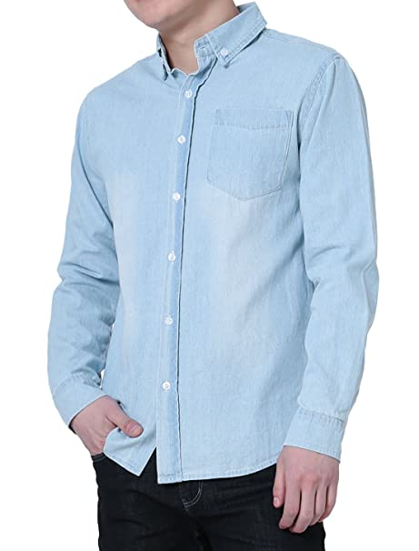 e5c4b36ad3 uxcell Men Long Sleeves Washed Denim Button Down Casual Shirt