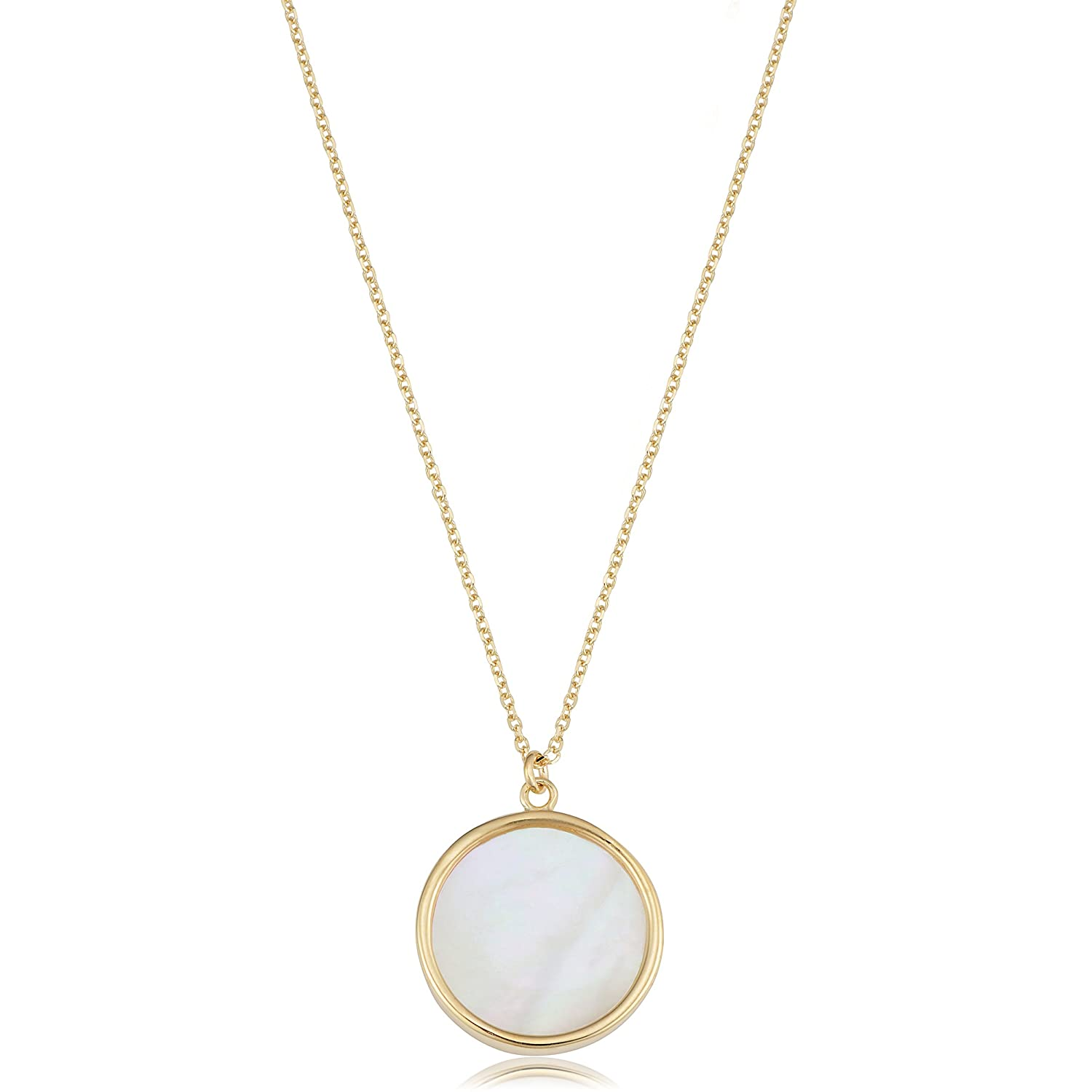 d1a46281994ac Amazon.com: Kooljewelry 14k Yellow Gold Mother of Pearl Necklace (18 ...