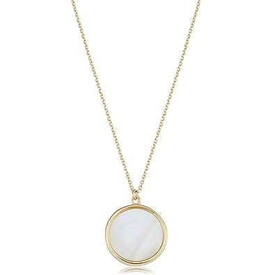2871814ca32b0 Amazon.com: Kooljewelry 14k Yellow Gold Mother of Pearl Necklace (18 ...