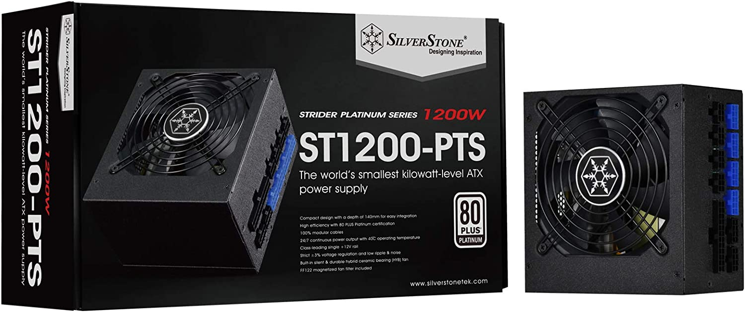 SilverStone Technology 1200 Watt Fully Modular 80 Plus Platinum Power Supply in Ultra Compact 140MM in Depth ST1200-PTS