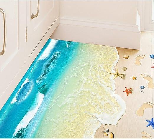 OLSR® 3D Hermosa playa Adhesivo de suelo desmontable impermeable ...