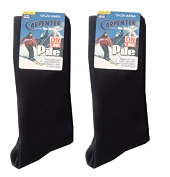 Carpenter - Juego de 2 pares de calcetines altos para hombre, de forro polar térmico, ideal para esquí, color liso, negro: Amazon.es: Deportes y aire libre