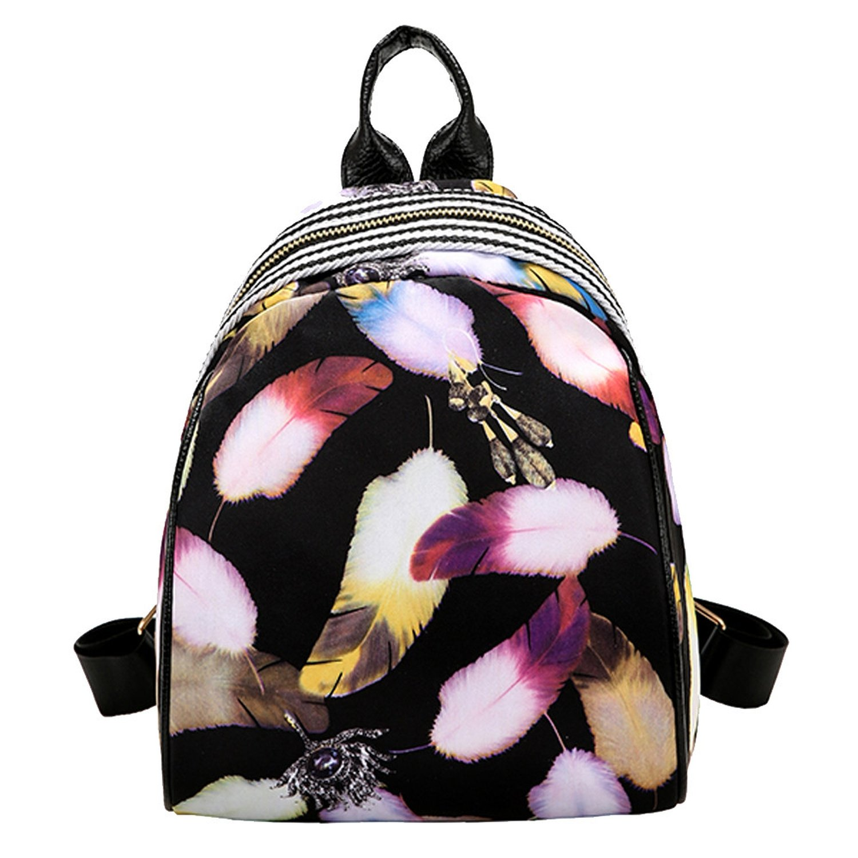 Amazon.com | Women Feather Printing Backpacks Teenager Girls Travel Backpack Mini Soft School Bag Rucksack Autumn Female Backpackss A | Backpacks