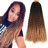 AliRobam 18inch Ombre Passion Twist Water Wave Bohemian Curly Braids For Butterfly Locs Crochet Hair Synthetic Braiding…