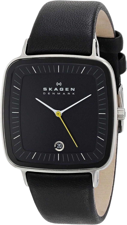 Skagen Men's H04LSLB Hiro Quartz 3 Hand Date Stainless Steel Black Watch